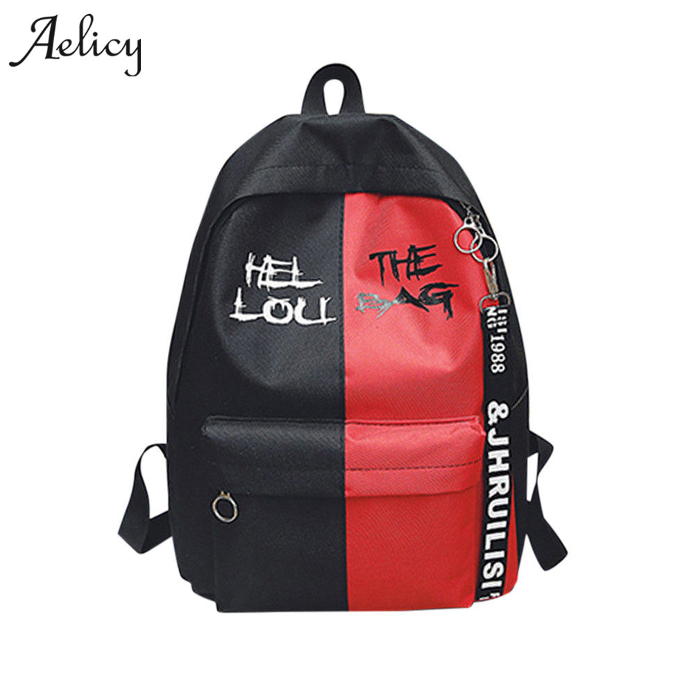 Canvas Letter Unisex Woman Female Canvas Backpack Schoolbag For Girls Rucksack Zipper Mochila Escolar Menina