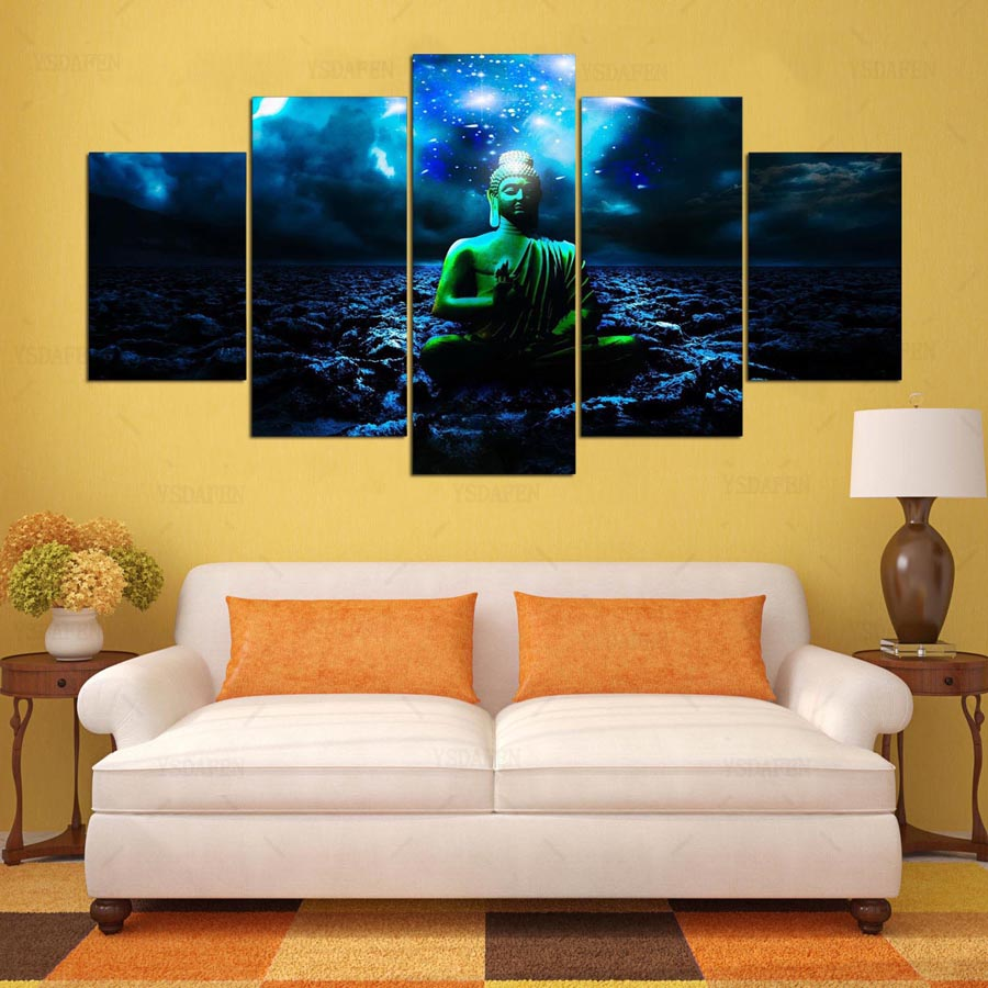 YSDAFEN 5 panel HD printed painting Zen sitting Buddha canvas home ...