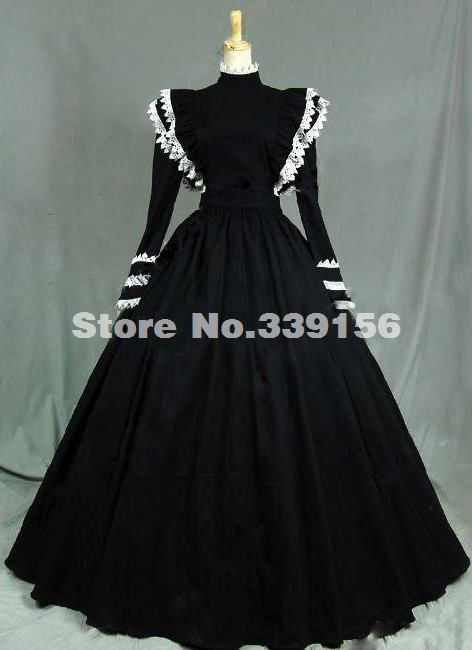 2016 Custom Vintage Black Long Sleeve Medieval Renaissance Gothic Victorian Dresses,Women's Crazy Halloween Party Ball Gowns