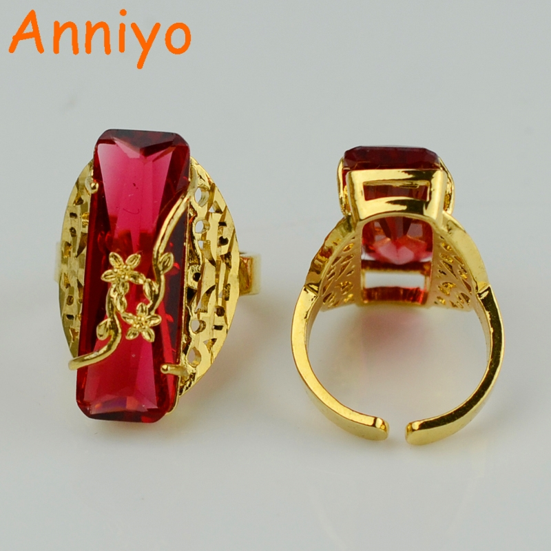 Anniyo One Piece Red Blue Green Ring For Women Gold Color