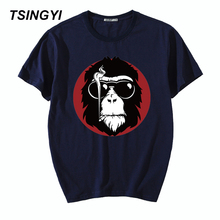 Tsingyi Plus 5XL Summer Fashion Smoking Monkey King T-Shirt Men 100% Cotton O-Neck Short Sleeve Tee Shirt Homme Asia Size 1120
