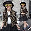 2016 Meninas Novas Jaqueta de Camuflagem das Crianças Botões de Roupas O-pescoço Primavera/Outono Criança Meninas Casacos Crianças Outerwear Casaco de 6-15 T
