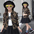 2016 New Girls Jacket Camouflage Children's Clothing Buttons O-Neck Spring/Autumn Child Girls Coats Kids Outerwear Coat 6-15T