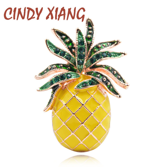 CINDY XIANG Austria Rhinestone Inlay Enamel Pineapple Brooches For Women Cute Fr