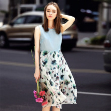 2017 Summer Bohemian Casual Patchwork Sleeveless Real Silk Tank Dresses Large Plus Size Female Beach D422