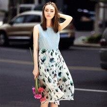 2017 Summer Bohemian Casual Patchwork Sleeveless Real Silk Tank Dresses Large Plus Size Female Beach D422