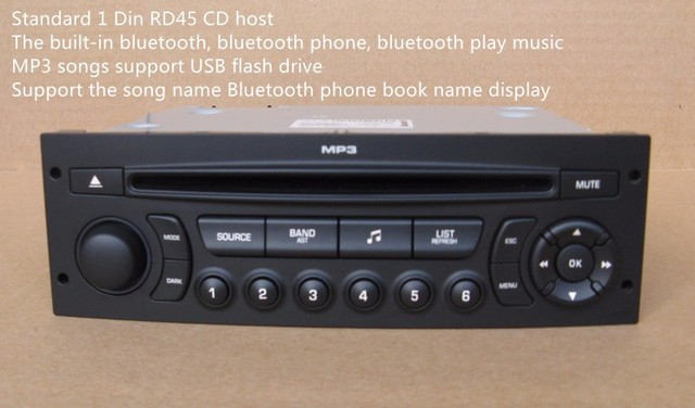 rd45 player support bluetooth music bluetooth phone usb playback aux for peugeot 207 206 307 308. Black Bedroom Furniture Sets. Home Design Ideas