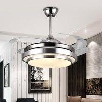 IKVVT Modern Ceiling Fan with LED Light Acrylic Blades Fan Lamp for High Ceiling Livingroom Ventilador de Teto Retratil 110/220V