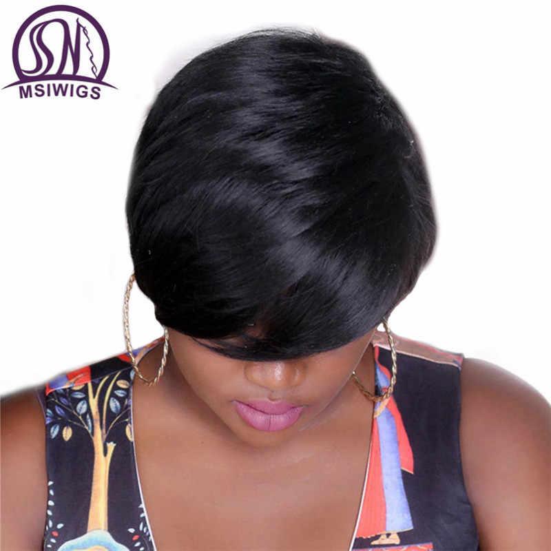 Msiwigs bobo estilo curto perucas para preto feminino resistente ao calor do cabelo natural sintético em linha reta peruca preta livre hairnet