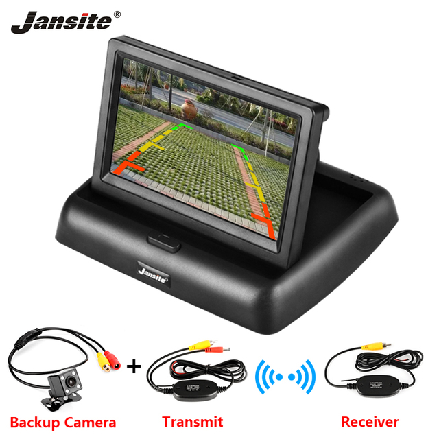 4,3 pulgadas TFT LCD Monitor coche plegable Pantalla de Monitor Cámara inversa sistema de aparcamiento de coche retrovisor monitores NTSC amigo