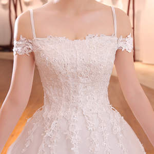 Image 4 - Elegante Eenvoudige Kant Trouwjurk Vlnuo Nisa Luxe Boothals Hof Trein Vestido De Novia Baljurk Real Photo Bruid jurk 20