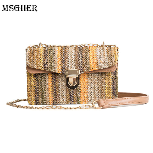 M.S Women Straw Bag Summer Beach Tote Mini Flap Bags Woven Lock Shoulder Messenger Bags Fashion Female Casual Pouch bolsas WB510