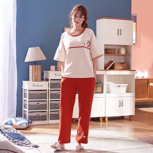 Image 4 - 큰 야드 xxl 여성 잠옷 세트 100% 코튼 nightwear 봄 여름 짧은 소매 잠옷 o neck sleepwear 여성 pijamas mujer