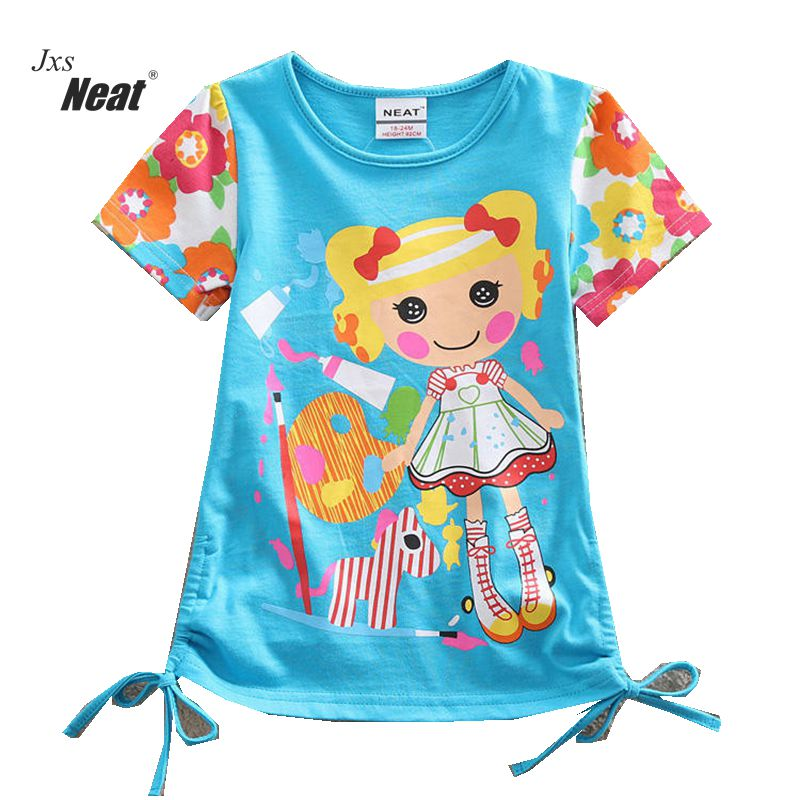 NEAT 2018 baby girl clothes kids short sleeve T-shirt Loli style little girl cotton 100% cotton cartoon casual T-shirt SG002 cotton bull and letters print round neck short sleeve t shirt