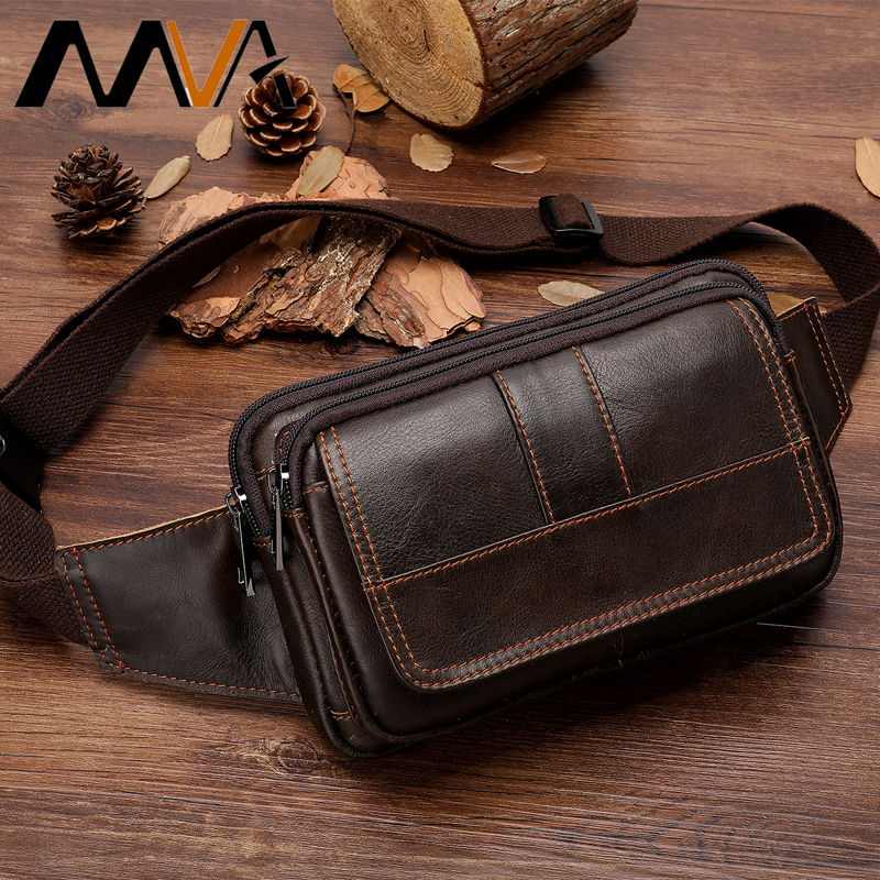 MVA Men's Waist Bag Leather Male Fanny Pack Money Belt Bag Men Phone Man Belt Pouch Shoulder Bags For Men Travel Waist Pack 8966
