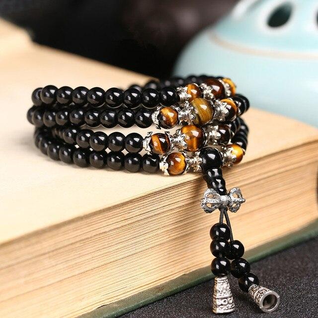 Black Color Tiger Eye Crystal Tibet Buddhist Buddha Meditation 108 Prayer Bead Mala Bracelet/Necklace 2
