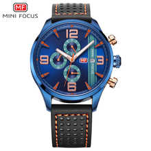 MINI FOCUS Sports Watch Men Waterproof Wristwatch Mens Quartz Watches Leather Strap Luxury Brand Calendar