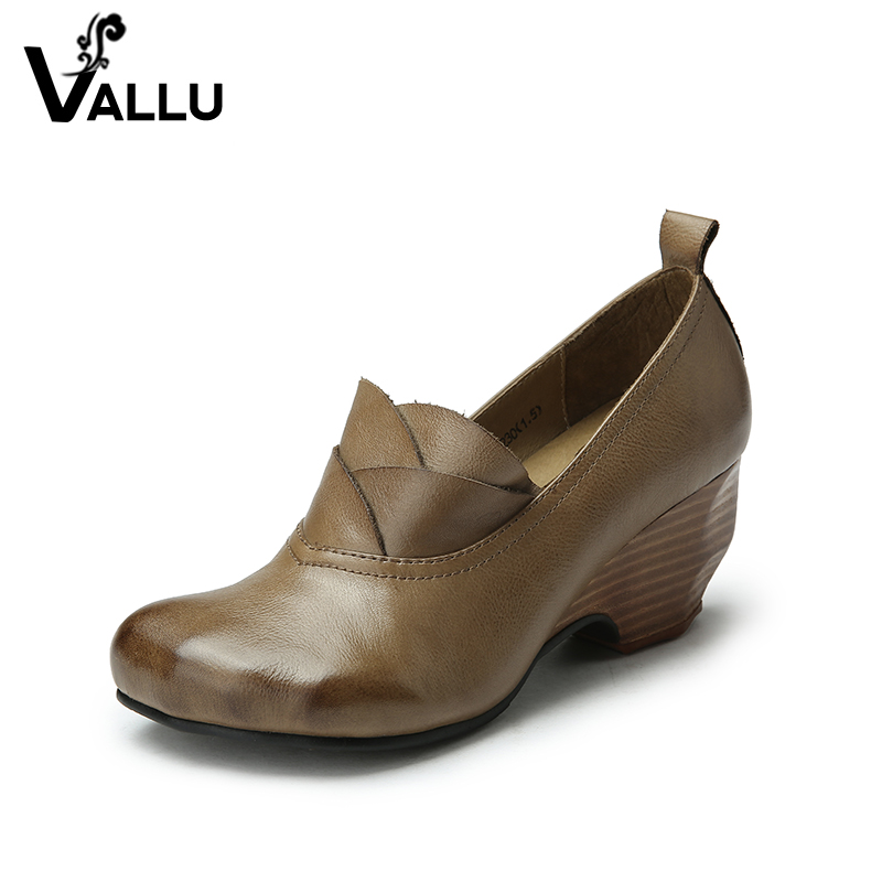 Women Shoes Genuine Leather 2018 Women High Heel Shoes Round Toes Handmade Women Vintage Pumps new spring genuine leather women pumps platform wedges round toes embroider back zip high heel handmade women shoes