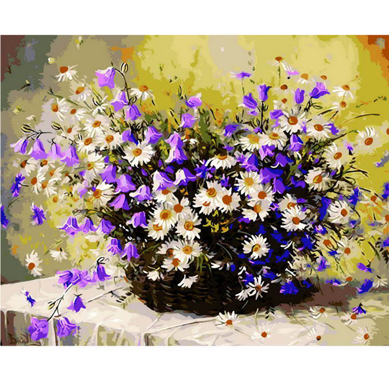 Daisy flower basket diy digital oil painting by numbers home decoration paint on canvas gift craft picture coloring by numbers