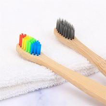 5pcs Child Natural Eco Friendly Soft Bristles rainbow Bamboo Handle Toothbrush Set Wooden Dental care gift Packaging