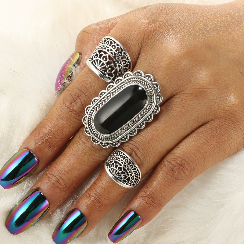 CWEEL Retro Big Black Stone Finger Rings Set For Women Geometric Party Wedding Knuckle Ring Antique Silve Color Punk Jewelry