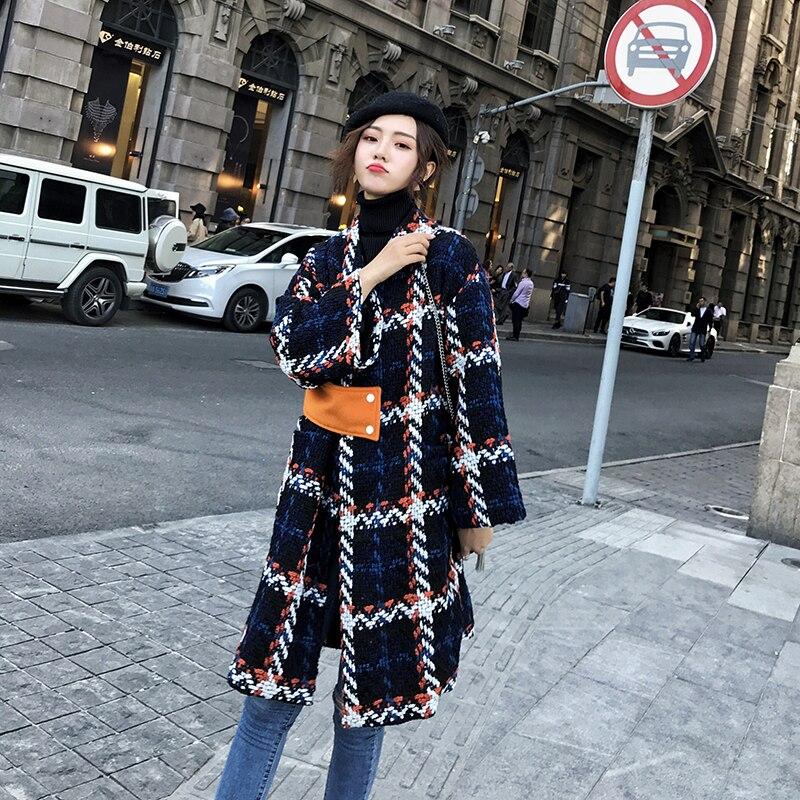Femmes laine manteau Plaid femmes lâche Long simple boutonnage laine manteaux hiver manteau laine pardessus 2018 laine vestes Trench