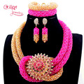 New Fuschia Pink Nigerian Wedding African Beads Jewelry Set Handmade Indian Dubai Bridal Necklace Sets Free Shipping E1056