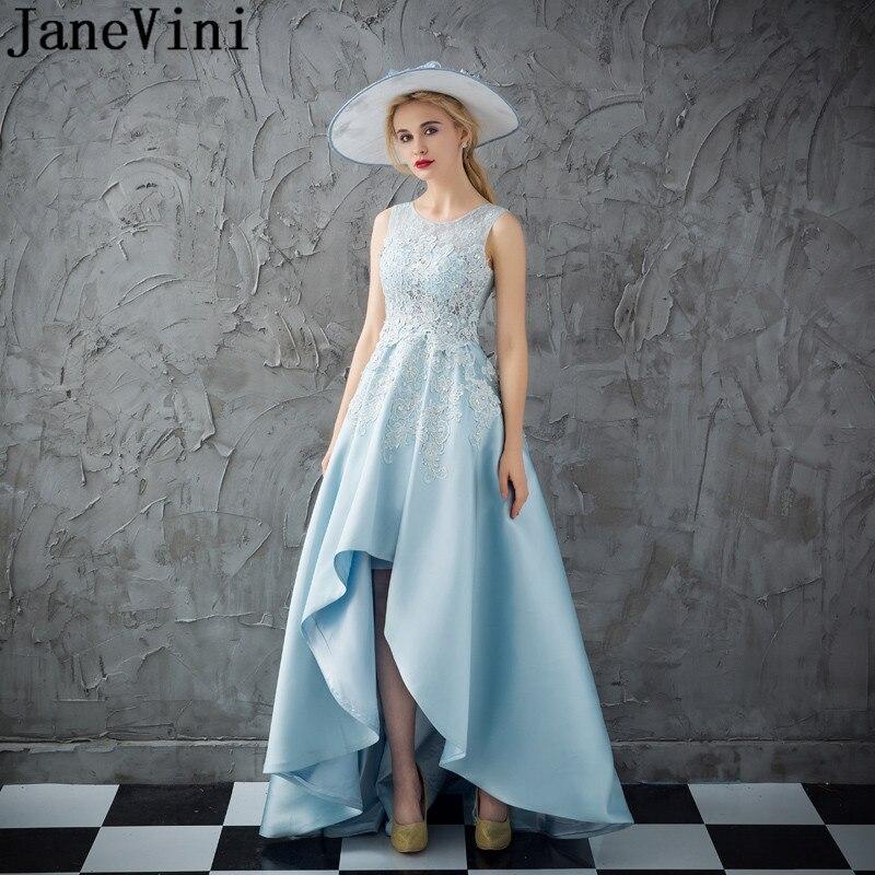 JaneVini 2019 bleu Hi-Lo bal robes de grande taille cristal perlé Satin femme Applique haut bas court avant longue dos robe de soirée