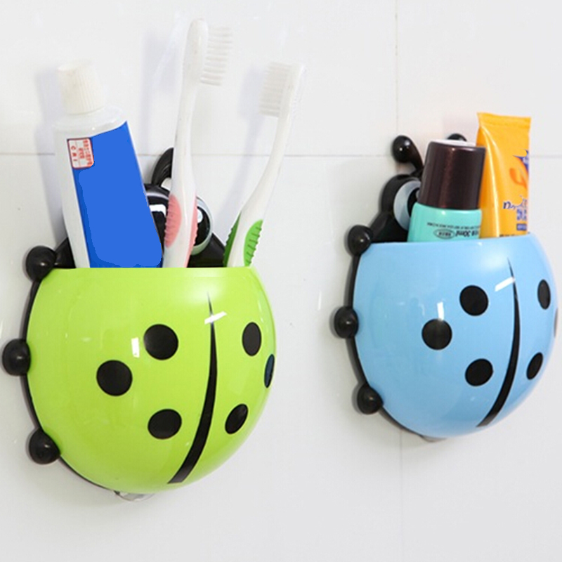 Cute Ladybug Insect Toothbrush Wall Suction Bathroom Sets Cartoon Sucker Toothbrush Holder / Suction Hooks 500pcs pack removable suction cup sucker wall window bathroom kitchen hanger hooks