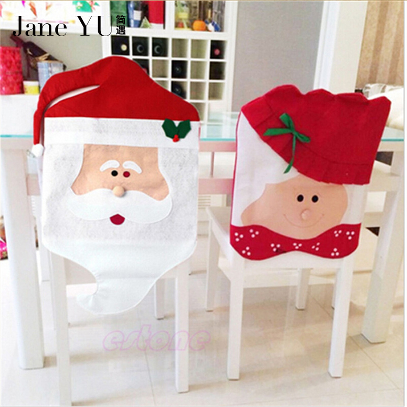 JaneYU 2pcs/set Mr&Mrs Santa Claus Christmas Dining Room Chair Cover Seat Back Cover Coat Home Party Decor Xmas Table Accessory