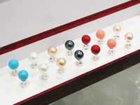 7pairs Wholesale Beautiful Gift 8mm Shell Pearl Stud Earring