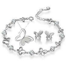 100% Sistemas de la Joyería de Plata 925 AAA para Las Mujeres Butterlfy Set Necklace + Earring + Pulsera de Plata Maciza Envío Libre JN27JE42JB19W