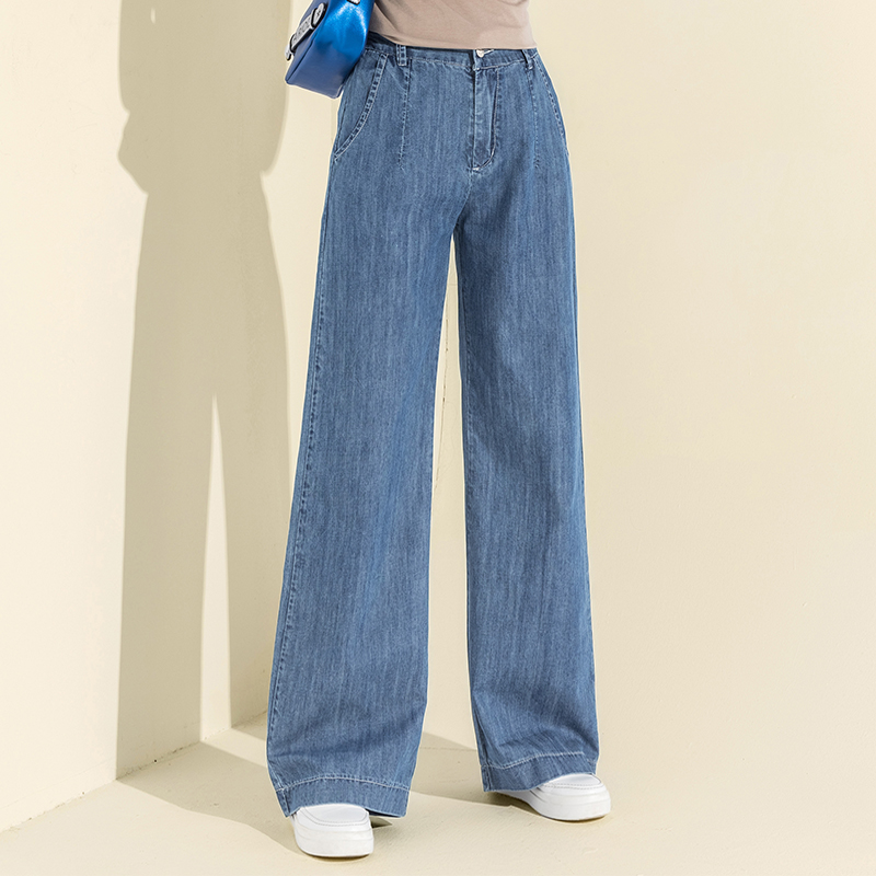 2018 Autumn Winter Cotton High Waist   Wide     Leg     Pants   Fake Zippers Jeans Vintage Casual Fly   Pants   Women Full Length Trousers New