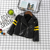 2017 Spring Autumn Trendy Street Style Boys Girls Black Leather Jackets Pu Cool Baby Jackets Baby