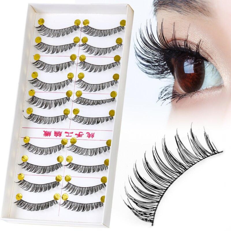 10 Pairs Natural Extension Eyelashe Long Eye Lashes Cosmetics 3D Handmade Lashes False Eyelash Makeup Beauty False Eyelashes