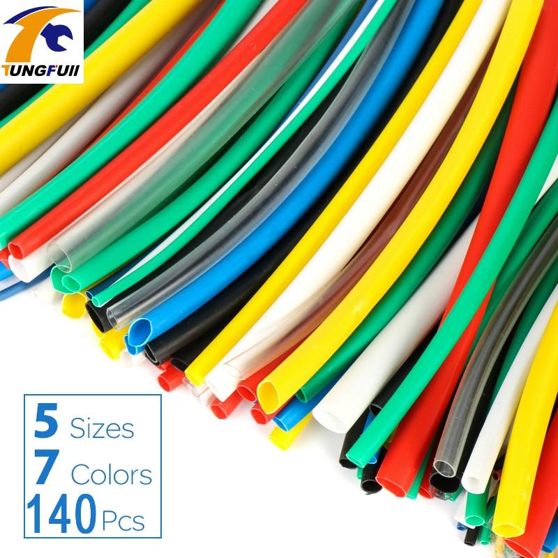 Купить на aliexpress 140 шт. автомобильные электрические кабельные трубки наборы Термоусадочные трубки обертывание рукав Ассорти 7 цветов смешанные цвета трубки...