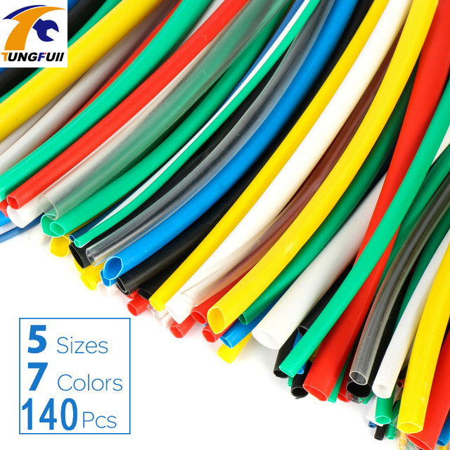 140pcs Car Electrical Cable Tube kits Heat Shrink Tube Tubing Wrap Sleeve Assorted 7color Mixed Color Tubing Sleeving Wrap Wire