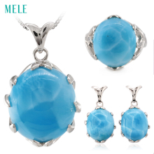 Natural larimar silver jewelry set, oval 16mm*18mm for pendant ,oval 14mm*16mm for ring, oval 12mm*14mm for earring, top quality