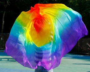 Image 5 - New design women 100% real silk belly dance veil cheap belly dancing veils accessories rainbow