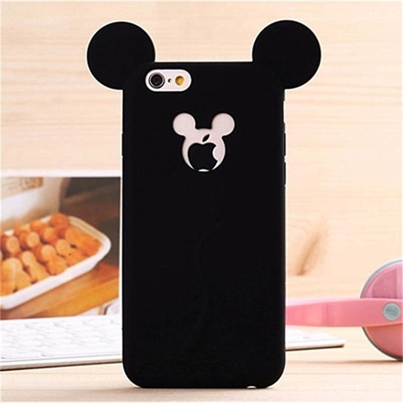 Cute Candy Colors Colorful 3D Soft Mickey Mouse Ear Silicone Cartoon Phone Case Cover For Iphone 6 6S 4.7Inch P50