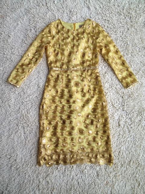 Newest Fashion 2015 Runway Dress Women's Elegant Long Sleeve Gauze Stunning Paillette Appliques Luxurious Gold Dress