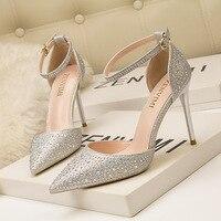 Women Pumps High Heels Brand Design Sexy High Heels Women Shining Rhinestone Buckle Strap Party Shoes Black Gold Shoes