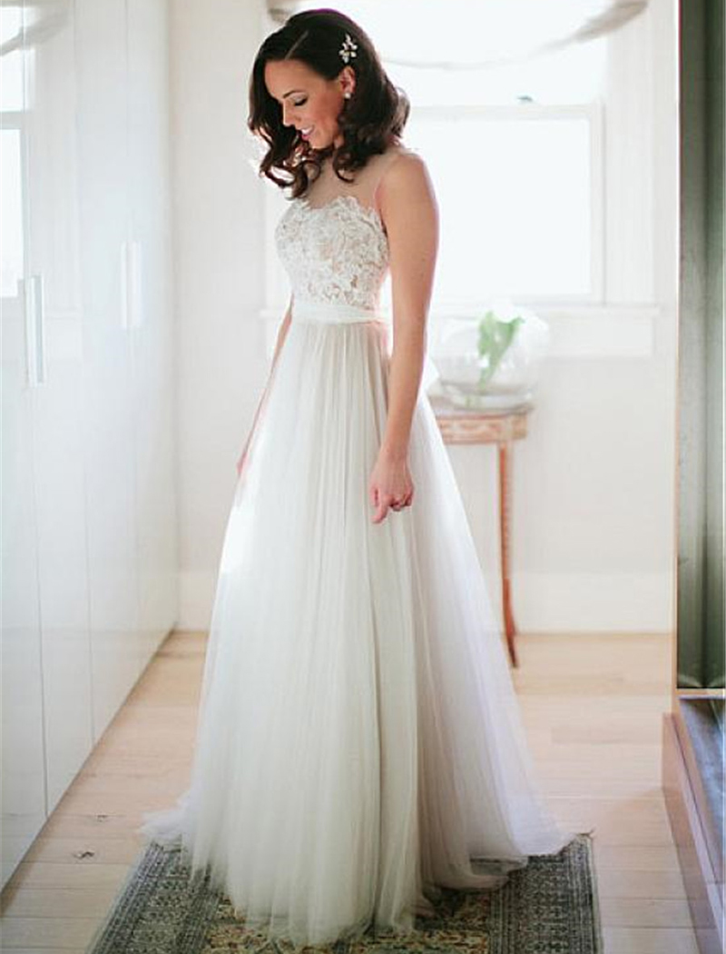 LORIE Beach Wedding Dress Lace Top A-Line Appliques Tulle Princess Vintage Bridal Dress 2019 Custom Made Wedding Gown