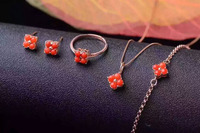 Natural red coral gem jewelry sets natural gemstone Bracelet Pendant Earrings ring 925 silver Lucky clover women fine jewelry