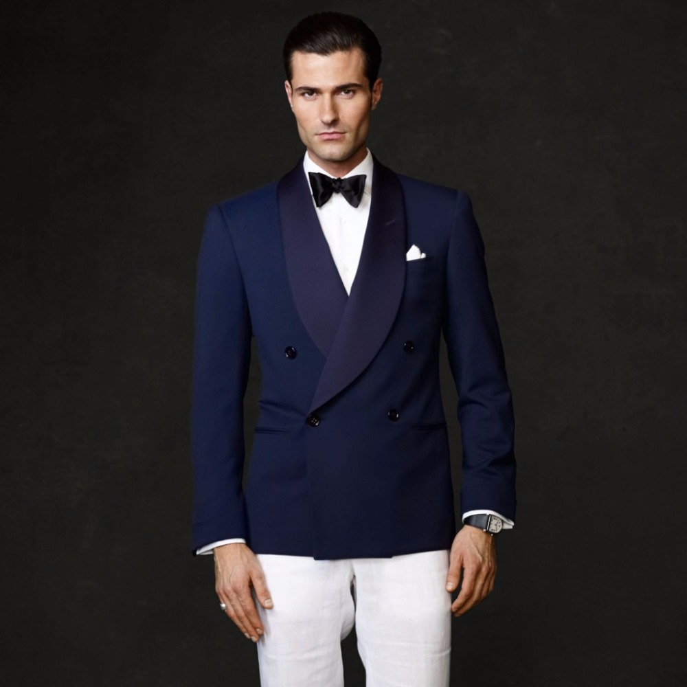 2017 Latest Coat Pant Designs Navy Blue Double Breasted Shawl Lapel Wedding Suits For Men Custom 2 Pieces Terno Jacket+Pants 223