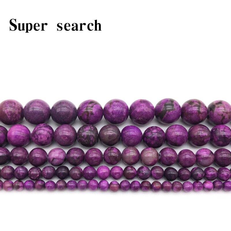 Aladdin 6/8/10/12MM Top Quality Deep Purple Sugilite Agat Crystal Charoite Quartz Round Bead Diy Making Jewelry Accessories