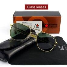 496e65455d7d1 Moda de Alta Qualidade Piloto AO Sol Óculos de Lente de Vidro óculos de Sol  Masculinos Dos Homens Designer de Marca Militar Do E..