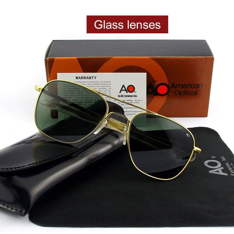 289ae7277b219 Moda de Alta Qualidade Piloto AO Sol Óculos de Lente de Vidro óculos de Sol  Masculinos Dos Homens Designer de Marca Militar Do Exército Americano OP55  OP57