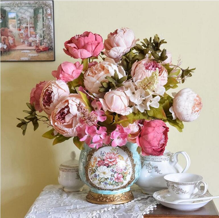 Pretty Encanto 1 Bouquet Artificial Peony Flores Del Partido Del Festival Decora