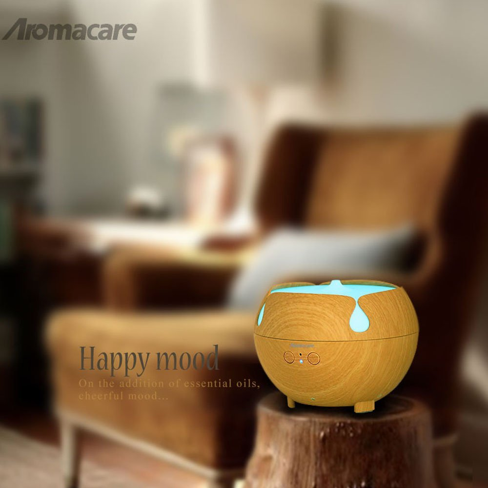 Aromacare 600mL æterisk oliediffuser Mini Air Humidifier Wood Grian - Husholdningsapparater - Foto 5